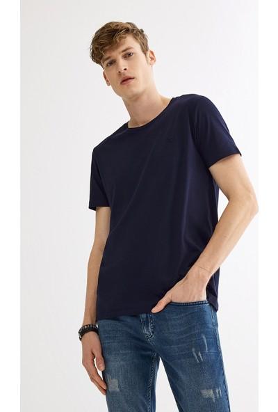 Avva Erkek Lacivert Ultrasoft Bisiklet Yaka Düz T-Shirt A01B1171