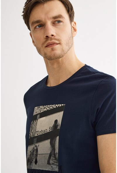 Avva Erkek Lacivert Bisiklet Yaka Baskılı T-Shirt A01Y1021