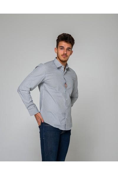 Eyes Men's Fashion Erkek Klasik Yaka Uzun Kol Baskılı Slim Fit Gömlek