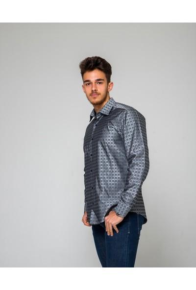 Eyes Men's Fashion Erkek Klasik Yaka Uzun Kol Ekose Jakar Slim Fit Gömlek