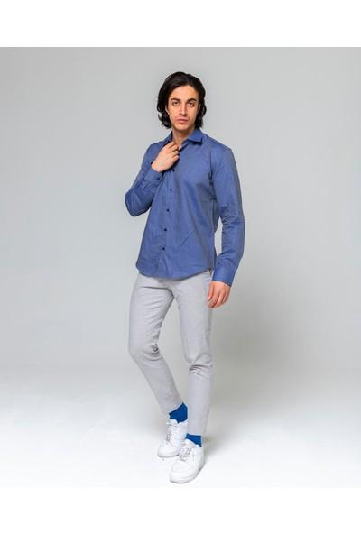 Eyes Men's Fashion Erkek Klasik Yaka Uzun Kol Indıgo Şal Desenli Slim Fit Gömlek