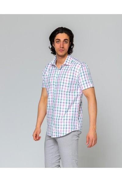 Eyes Men's Fashion Erkek Klasik Yaka Kısa Kol Ekose Slim Fit Gömlek