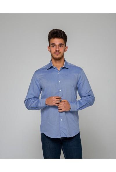 Eyes Men's Fashion Erkek Klasik Yaka Uzun Kol Oxford Slim Fit Gömlek