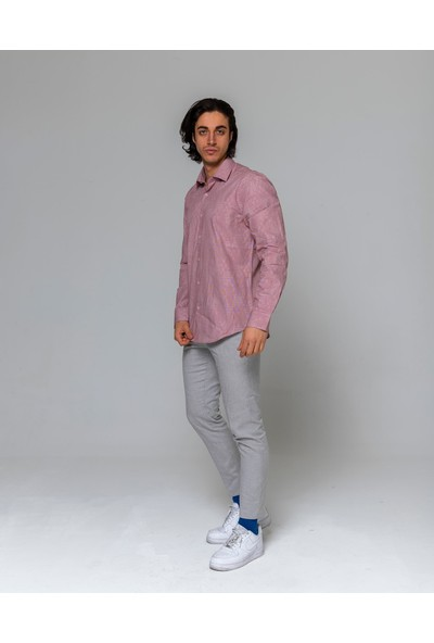 Eyes Men's Fashion Erkek Klasik Yaka Uzun Kol Jakar Slim Fit Gömlek