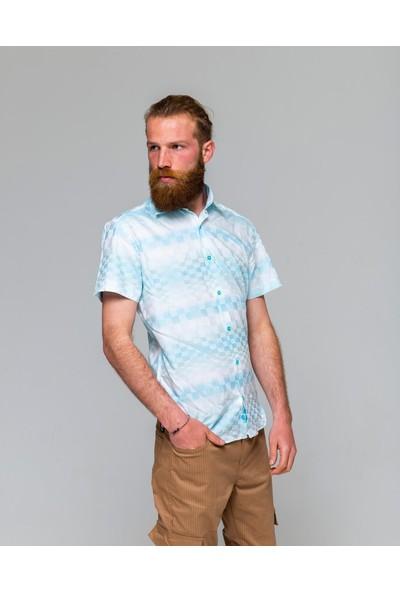 Eyes Men's Fashion Erkek Klasik Yaka Kısa Kol Kendinden Dama Desen Renk Geçişli Slim Fit Gömlek