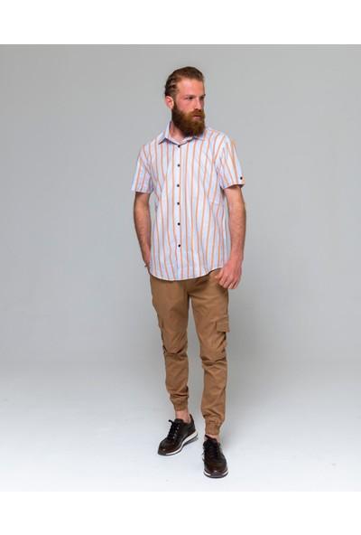 Eyes Men's Fashion Erkek Klasik Yaka Kısa Kol Çizgili Slim Fit Gömlek