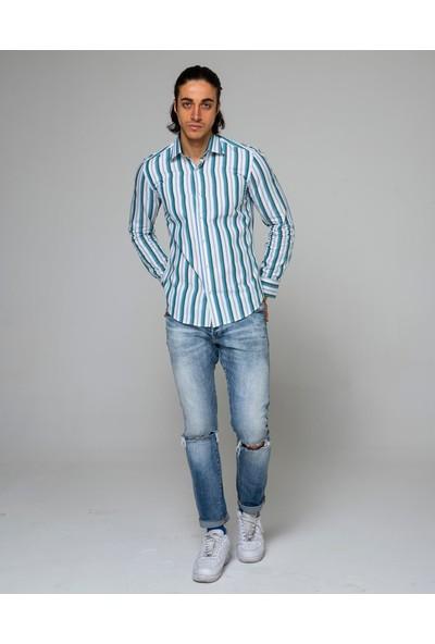 Eyes Men's Fashion Erkek Klasik Yaka Uzun Kol Çizgili Slim Fit Gömlek