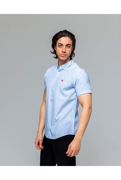 Eyes Men's Fashion Erkek Klasik Yaka Kısa Kol Armürlü Slim Fit Gömlek