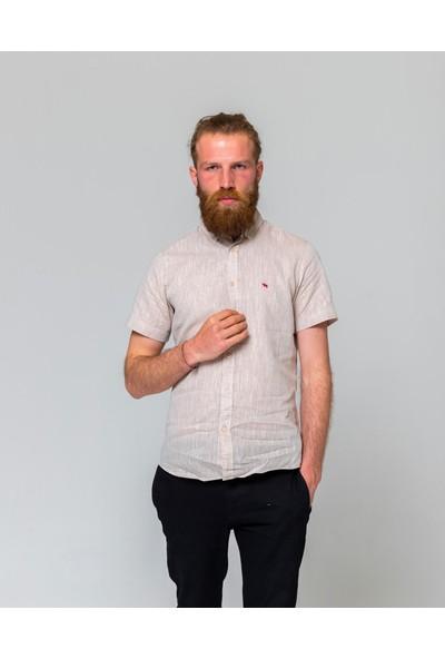 Eyes Men's Fashion Erkek Klasik Yaka Kısa Kol Keten Slim Fit Gömlek