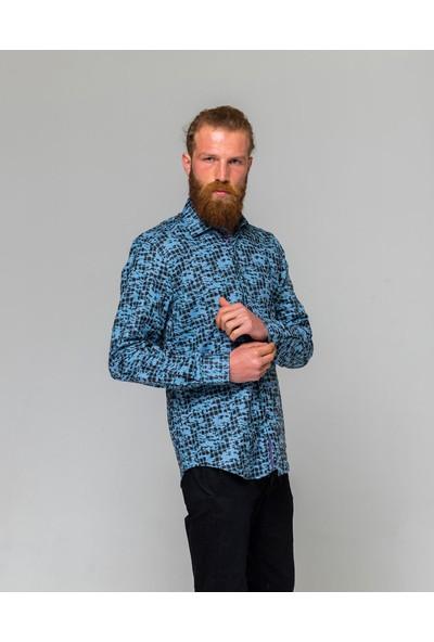 Eyes Men's Fashion Erkek Klasik Yaka Uzun Kol Ekose Kamuflaş Slim Fit Gömlek