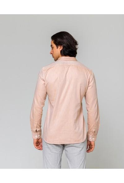 Eyes Men's Fashion Erkek Klasik Yaka Uzun Kol Keten Slim Fit Gömlek