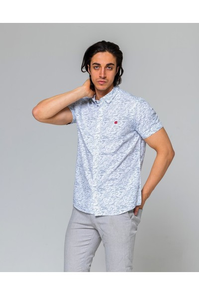 Eyes Men's Fashion Erkek Klasik Yaka Kısa Kol Baskılı Slim Fit Gömlek