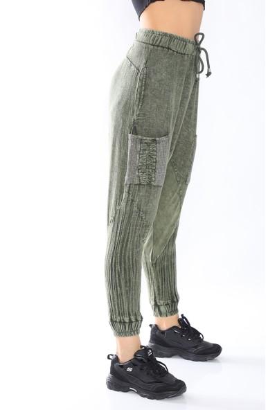 Podiumstar Cepleri Taş Detaylı Yeşil Modern Şalvar Pantolon