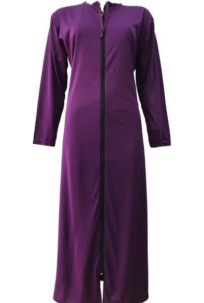 Hazal Namaz Elbisesi Softjarse Fermuarlı Model Mürdüm