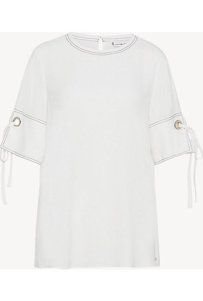 Tommy Hilfiger Kadın Bluz WW0WW23976 D002633 - Beyaz