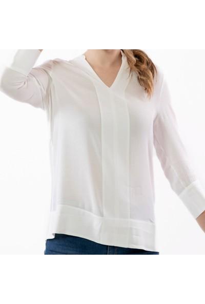 Tommy Hilfiger Kadın Bluz WW0WW24638 D002567 - Beyaz