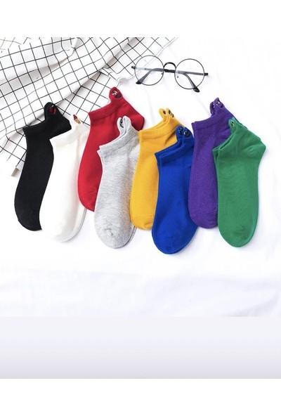 Yalıncak Emoji Çoraplar 8'li Gökkuşağı Paketi