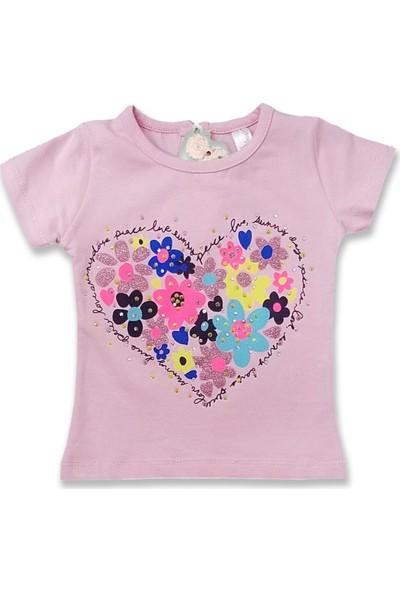 Difa Kalpten Baskılı Çiçekli Kız Bebek T-Shirt