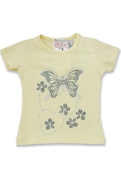 Difa Taşlı Kelebek Baskılı Kız Bebek T-Shirt