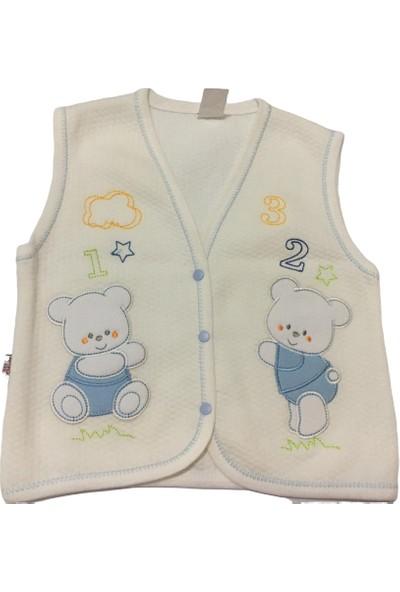 Akyüz Bebe Ayıcık Erkek Bebek Yelek - Beyaz - 18-24 Ay