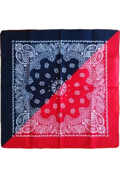 Kazandıran Outlet Kırmızı Lacivert Çift Renkli Bandana