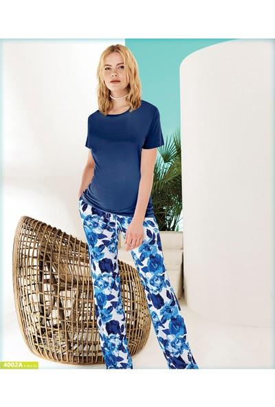Blue Dream Kadın Viskon Kısa Kol Pijama Takımı 4002