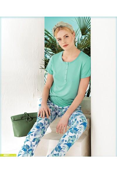 Blue Dream Kadın Viskon Kısa Kol Pijama Takımı 4021