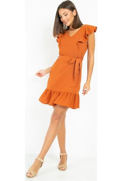 Sateen Beli Kuşaklı Volanlı Somon Elbise