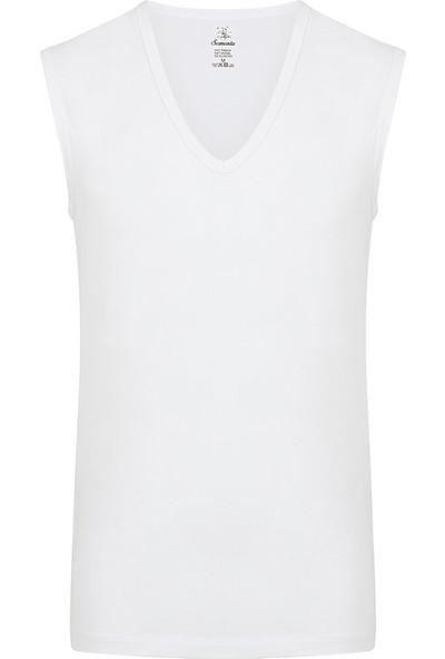 Sam Erkek Modal Derin V Yaka Kolsuz Tshirt - Beyaz