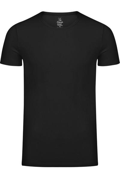 Sam Erkek Modal Sıfır Yaka Tshirt - Siyah