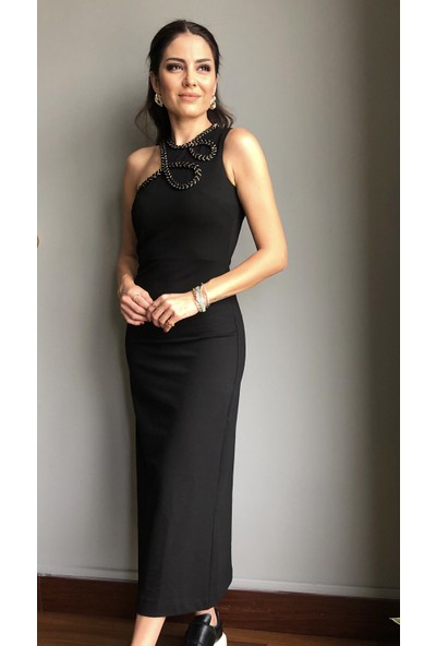 Lovemetoo Belinda Pamuklu Likralı Kumaş Yakası Asimetrik Işlemeli Elbise