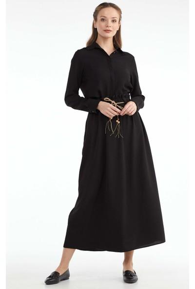Sementa Kadın Beli Lastikli Kemerli Etek - Siyah