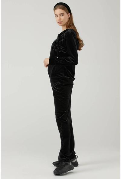Sementa Kadın Kapüşonlu Kadife Eşofman Takım - Siyah