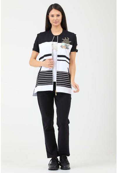 Sementa Kadın Marine Yelekli 3'lü Eşofman Takım - Beyaz - Siyah