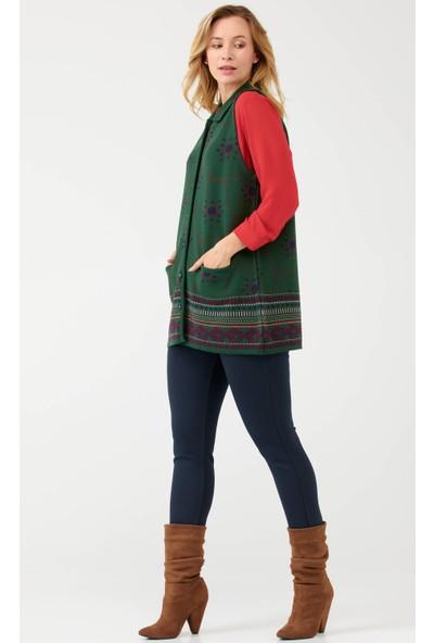 Sementa Kadın Polo Yaka Düğmeli Cepli Yelek - Yeşil