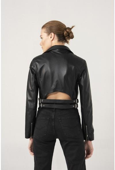 Black Noble Elıza Biker Siyah Deri Ceket