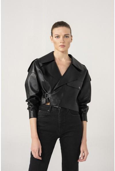 Black Noble Gabrıella Kadın Oversize Siyah Deri Ceket