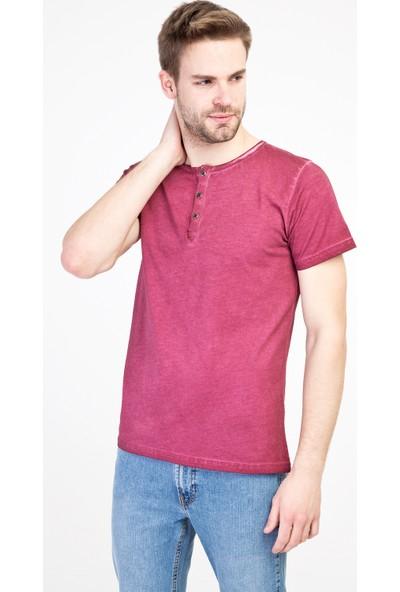Kiğılı Erkek Bisiklet Yaka Düğmeli Slim Fit T-Shirt
