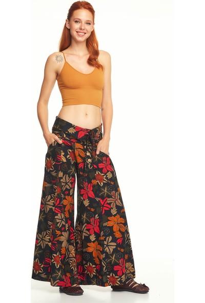 Los Banditos Çiçek Desenli Düşük Bel Bol Paça Siyah Pantolon-P27Siyahcıceklı