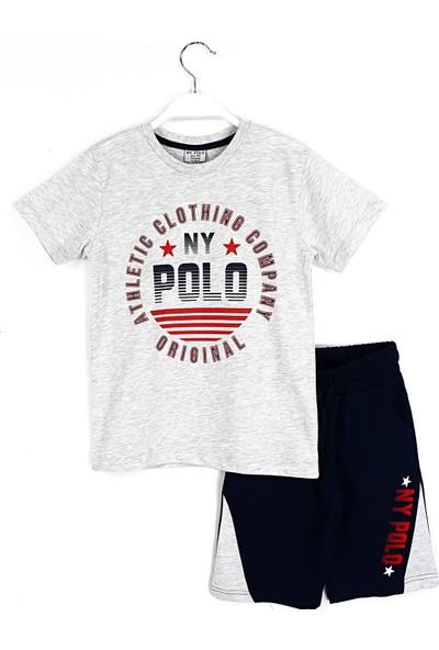 Ny. Polo Erkek Çocuk Tshirt Kapri 2'li Polo Takım Gri