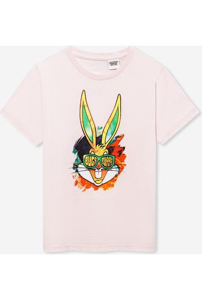 Bugs Bunny Baskılı Pembe Tişört 6629030740