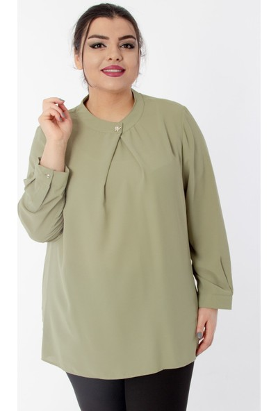 Hanezza Kadın Broş Yaka Detay Krep Bluz