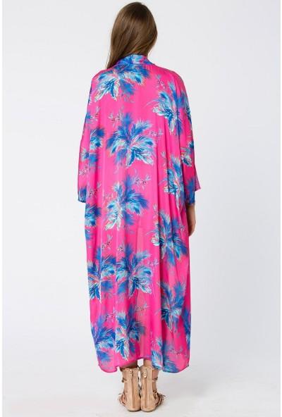 Bexy CASORIA Çiçek Baskılı Fuşya Kimono 160080-1