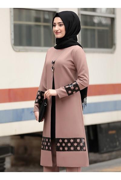 Rabeysa Kadın Yıldız Tunik Pantolon Ikili Takım Vizon