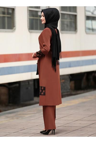 Rabeysa Kadın Yıldız Tunik Pantolon Ikili Takım Kahverengi