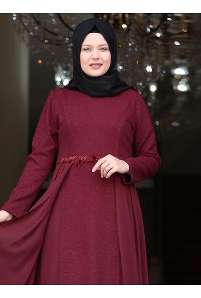 Amine Hüma Kadın Eylül Abiye Elbise Bordo
