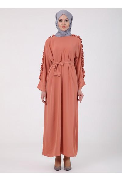 Tuncay Kadın Fırfırlı Elbise Somon