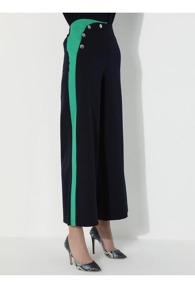 Mileny Kadın Bol Paça Pantolon Lacivert