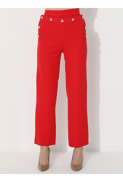 Mileny Kadın Bol Paça Pantolon Kırmızı