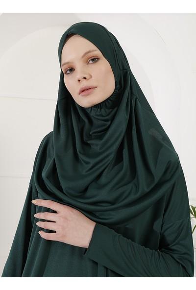 Inşirah Kadın Kendinden Başörtülü Namaz Elbisesi Zümrüt